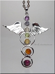 Silver Angel Wing Pendant, Angel Wing Necklace with Chakra Gemstones