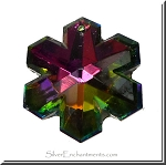 Multicolor Crystal Snowflake Pendant, 35x30mm