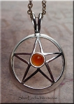 Silver Pentacle Pendant with Carnelian, Carnelian Pentacle Necklace, Pagan Jewelry