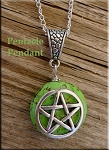 Pentacle on Green Gemstone Pendant - Calm Me