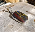 Unique Tiger Iron Pendant, Natural Shimmering Mugglestone Gemstone Jewelry