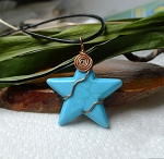 Turquoise Star Necklace, Copper Wire Wrapped Turquoise Star Jewelry