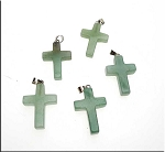 Green Aventurine Cross Pendant - Bailed Aventurine Gemstone Cross Pendants (1)