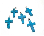 Turquoise Cross Pendants, Bailed Turquoise Howlite Cross Pendants (1)