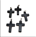 Black Onyx Cross Pendant, Black Onyx Bailed Stone Cross Pendants (1)