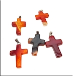 Carnelian Cross Pendant, Carnelian Agate Bailed Gemstone Cross Pendants (1)