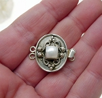 Sterling Silver Box Clasp, Double Strand Oval Gemstone Box Clasp with Scrollwork and Pearl Cab 17x20mm