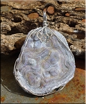 Druzy Chalcedony Pendant Necklace, Wire Wrapped Sparkling Chalcedony Druzy Pendant