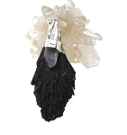 WITCH'S BROOM Raw Black Kyanite and Quartz Crystal Necklace 69x29mm