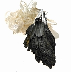 WITCH'S BROOM Raw Black Kyanite and Quartz Crystal Necklace 59x32mm
