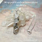 Spiral Wrapped Moonstone with Black Tourmaline Necklace Silver 18-inch Pencil Point Necklace Single Terminated Wand