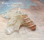 Spiral Wrapped Sunstone Necklace Silver 18-inch Pencil Point Gemstone Necklace Single Terminated Wand