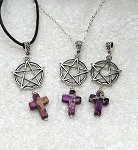 Pentacle with Cross Pendant, Christo-Pagan Necklace Jewelry - Everyday Spiritual Jewelry