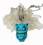 Turquoise Owl Pendant, Gemstone Owl Necklace