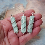 Amazonite Necklace, Spiral-Wrapped Amazonite Point Necklace Pendant - Stone of Truth, Integrity and Courage, Amazonite Gemstone