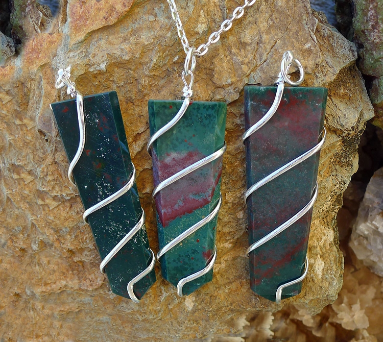 Bloodstone Pendant, Spiral-Wrapped Bloodstone Necklace - Stone of Justice, Prosperity and Protection, Gemstone Obelisk