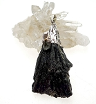 WITCH'S BROOM Raw Black Kyanite and Quartz Crystal Necklace 54x30mm