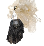 Black Kyanite and Clear Quartz Pendant Silver Gemstone Necklace 18-inch Witch's Broom Necklace 53x26mm