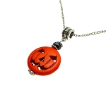 Halloween Pumpkin Necklace Pendant, Gemstone Jack O'Lantern Charm