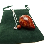 Red Jasper Pendulum Teardrop Gemstone Pendulum with Pouch for Energy work, Dowsing, and Divination