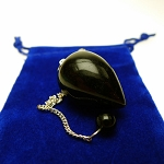 SOLD - Black Onyx Pendulum Teardrop Gemstone Pendulum with Pouch for Energy work, Dowsing, and Divination