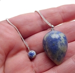 Natural SODALITE Pendulum with Pouch Teardrop Gemstone Pendulum - Wiccan/Pagan/Reiki/Divination/Energy Work/Dowsing