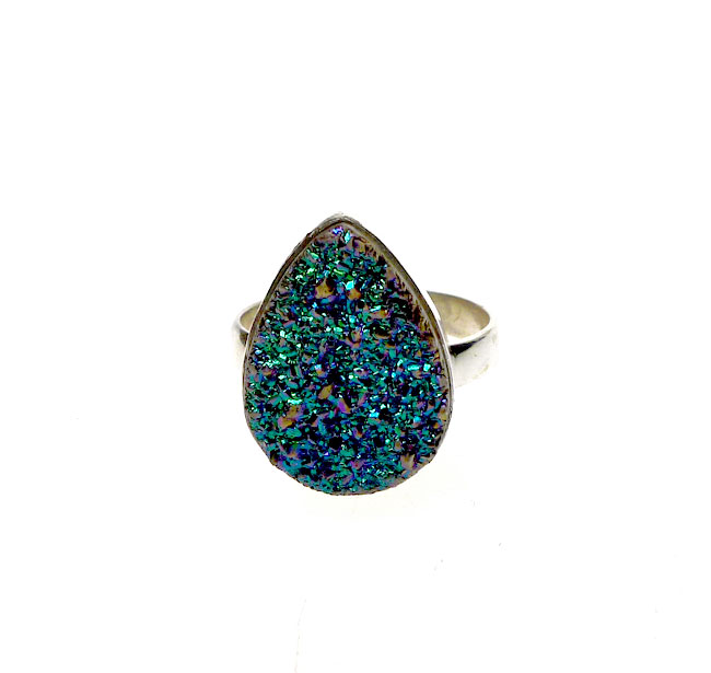 sterling silver druzy ring size 8 sterling silver real