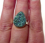 Sterling Silver Druzy Ring Size 8, Sterling Silver REAL Titanium Druzy Gemstone Ring