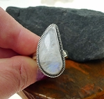 Rainbow Moonstone Ring, Sterling Silver Teardrop Flame Size 9