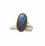 Labradorite Ring Size 5-1/2 - Sterling Silver Labradorite Ring, .925 Large Labradorite Ring