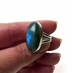 Labradorite Ring Sterling Silver Blue Flash Madagascar Labradorite Ring Size 8
