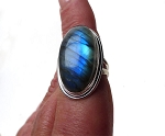 Sterling Large Labradorite Ring - Size 7, Natural Blue Flash Madagascar Large Oval Labradorite Ring