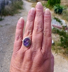 Sterling Silver Druzy Ring Size 10-1/2, Solid .925 Silver REAL Druzy Gemstone Ring, Druzy Jewelry, Purple Titanium Aura