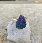 Sterling Silver Blue Druzy Ring Size 8, .925 REAL Druzy Gemstone, Titanium Druzy Jewelry, Aura