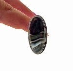 Sterling Silver Banded Black Onyx Ring Size 8, Natural Black Onyx Gemstone Ring