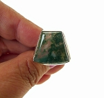 Unique Moss Agate Ring, Sterling Silver Size 9
