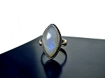 Marquise Rainbow Moonstone Ring Size 8 in Solid Sterling Silver