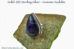 Teardrop Sodalite Ring, Elegant Sterling Silver and Dark Blue Sodalite Gemstone Ring Size 5