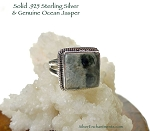 Square Ocean Jasper Ring, Size 7 - Sterling Silver Gemstone Jewelry