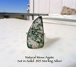 Unique Moss Agate Ring Size 7 Sterling Silver and Moss Agate