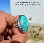 Kingman Turquoise Ring Size 9, Sterling Silver