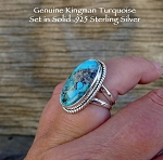 Sterling Silver Turquoise Ring Size 7, Kingman Turquoise