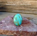 Arizona Turquoise Ring Size 6 in Solid Sterling Silver, Kingman Turquoise