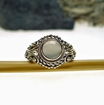 Sterling Silver Ornate Moonstone Ring Size 8