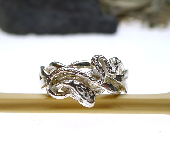 Sterling Silver Snake Puzzle Ring   4 Band Gimmal Wedding Ring   Size 9