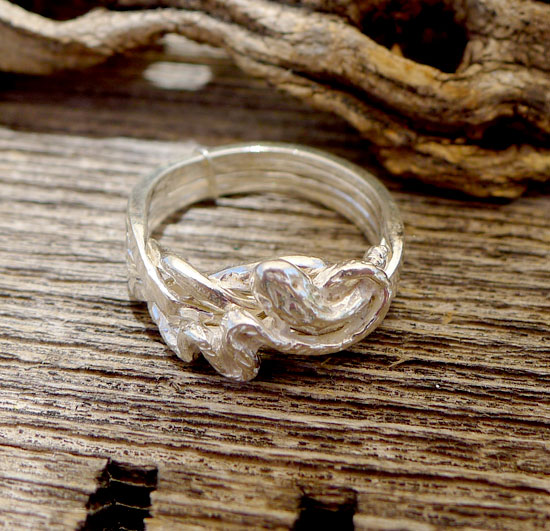 Sterling Silver Snake Puzzle Ring   4 Band Gimmal Wedding Ring