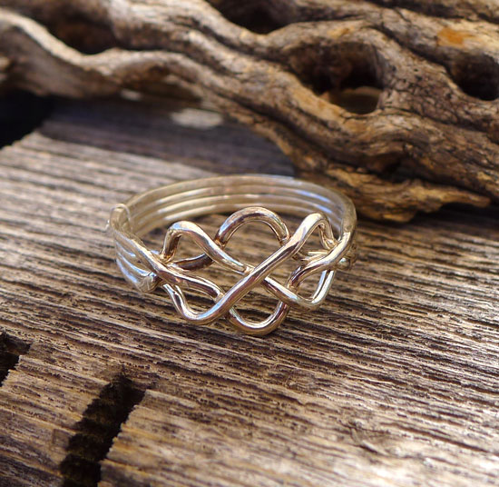 Superior Sterling Silver Celtic Puzzle Ring   4 Band Gimmal Celtic Knot Wedding Ring    Size 12