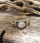 Moonstone Ring - Two-tone Sterling Silver and Gold Ring with Genuine Moonstone Gemstone Ring - Size 8