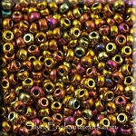 Miyuki Seed Beads 8/0, Metallic GOLD IRIS Glass Seed Beads Size 8, 8RR-0462