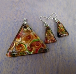 Glass Pyramid Necklace and Earrings Set, Fused Glass Jewelry